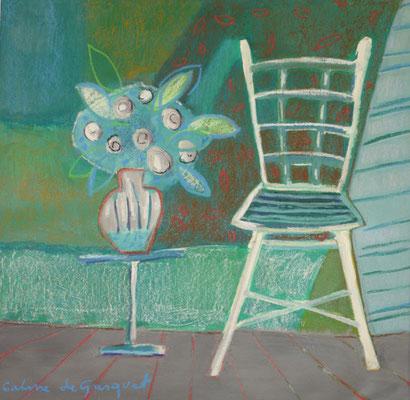 Chaise verte - Techniques mixtes - 50x50 cm (NAT47)