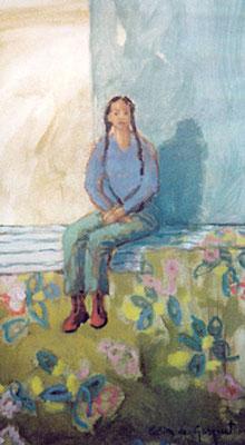 Fille aux nattes - Huile - 52x29 cm - 2002 (MOD16)