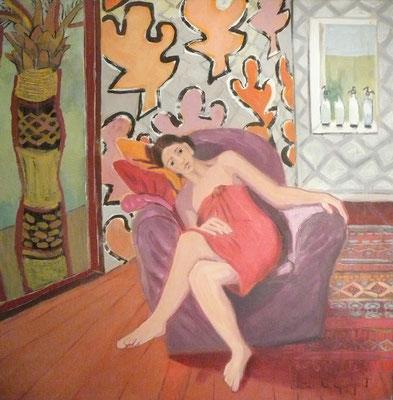 Fauteuil mauve - Acrylique sur toile 100x100 cm (MOD26)