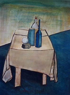 Table - Huile sur papier - 65x50 cm - 2002 (NAT33)