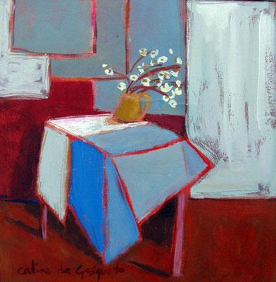 Nappe bleue -  Acrylique sur papier - 50x50 cm (NAT30)