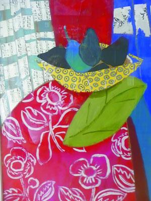 La feuille - Collage et acrylique - 100x70 cm (COL14) VENDU