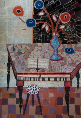 Le piano - Collage et acrylique - 100x70 cm (COL11) VENDU