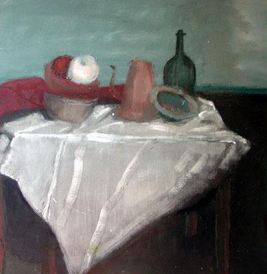 Nappe blanche - Acrylique sur papier - 50x40 cm (NAT22)