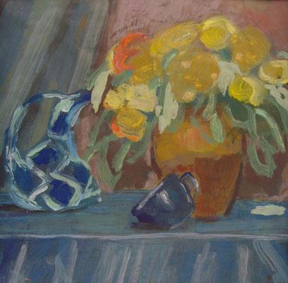 Bouquet jaune - Acrylique sur papier - 50x50 cm (NAT52)