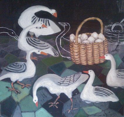 Oies - Acrylique sur toile - 100x100 cm (ANI01)