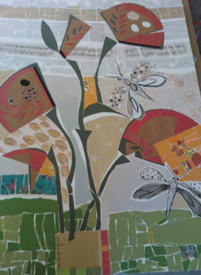 Eventails - Collage et acrylique - 100x70 cm (COL10)VENDU