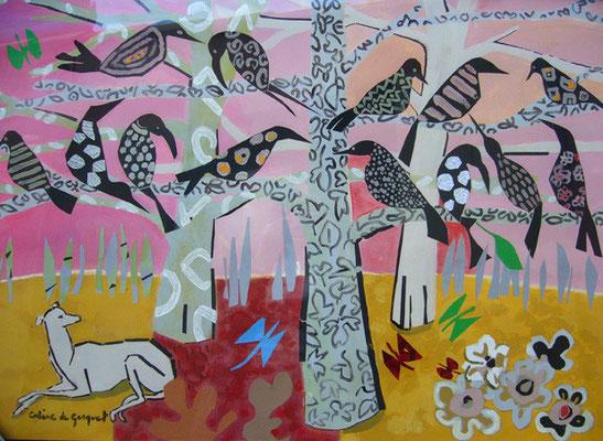 Corbeaux noirs et chien - Collage et acrylique - 80x100 cm (COL01)