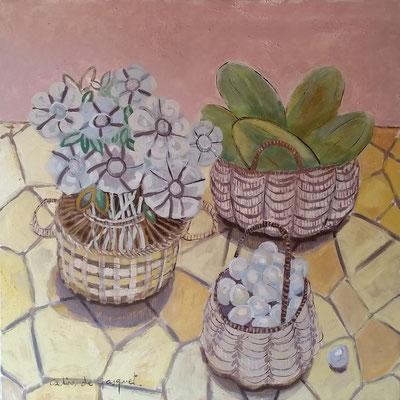 Trois paniers - Acrylique sur toile - 100x100 cm (NAT57)
