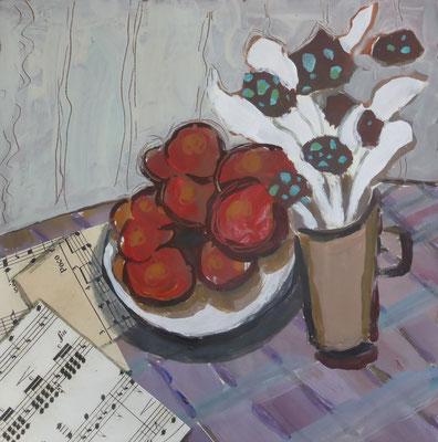Bouquet blanc - Acrylique et collage - 20x20 cm (COL16)