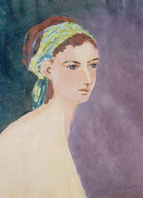 Le turban vert - Acrylique sur papier - 65x50 cm - 1998 (MOD04) PRIVE