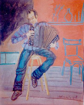 L'accordéoniste - Huile - 50x40 cm (MOD07) VENDU