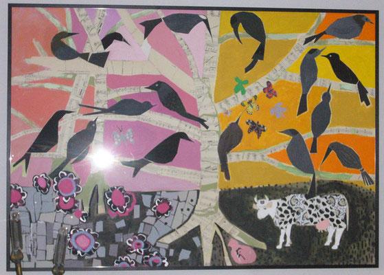 Corbeaux noirs et vache - Collage et acrylique - 80x100 cm (COL02) VENDU