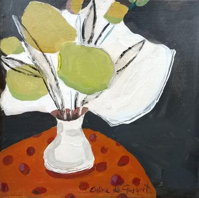 Bouquet - Acrylique sur papier - 20x20 cm (NAT54)