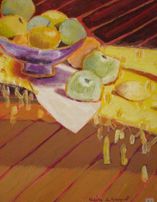 Pommes - Acrylique sur papier - 50x50 cm (NAT49)