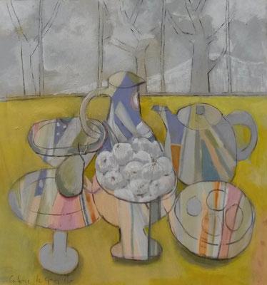 Oignons - Acrylique sur toile - 100x100 cm (NAT41)