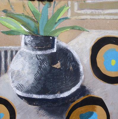 Tête d'ananas - Acrylique et collage - 20x20 cm (COL16)