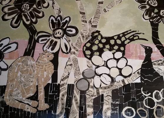 Poule aux oeufs - Acrylique et collage - 80x100 cm cm (ANI03)
