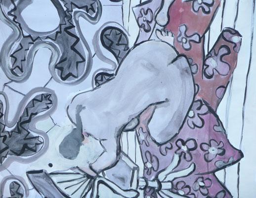 Nu - Acrylique sur papier - 50x50 cm (MOD25)