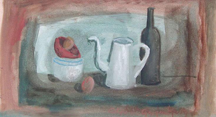 La cafetière - Acrylique sur papier - 25x40 cm (NAT23)