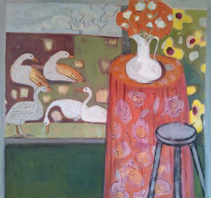 Guéridon au tabouret - Acrylique sur toile - 100x100 cm (ANI02) VENDU