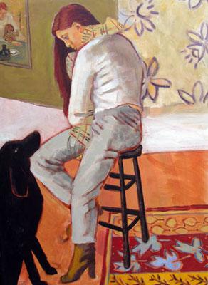 Modèle, chien et bottes - Acrylique - 73x100 cm - 2008 (MOD06)