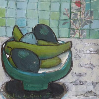 Avocats - Acrylique sur papier - 20x20 cm (NAT56)