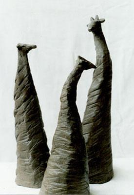 Girafes - Terre cuite noire - 30x10 cm (SCA03) vendu