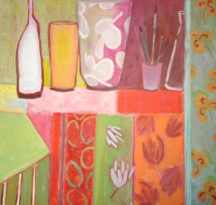 Pot aux pinceaux - Acrylique sur toile - 100x100 cm (NAT45) VENDU