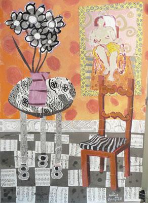La chaise rouge - Collage et acrylique - 100x80 cm (COL03)