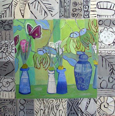 Papillon - Acrylique et collage - 100x100 cm (NAT01) VENDU