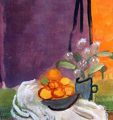 Bouquet au rideau mauve - Huile sur papier - 22x22 cm - 2002 (NAT27)
