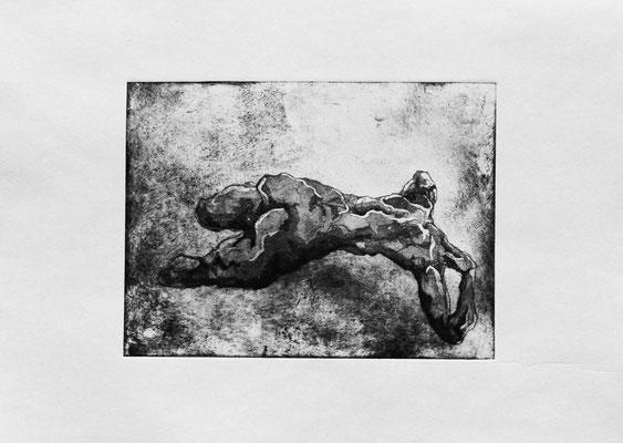 Strangers V (b), 2018. Radierung (Aquatinta) auf Papier, Platte 15 x 20 cm.