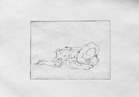 Strangers VI (a), 2018. Radierung (Strichätzung) auf Papier, Platte 15 x 20 cm.
