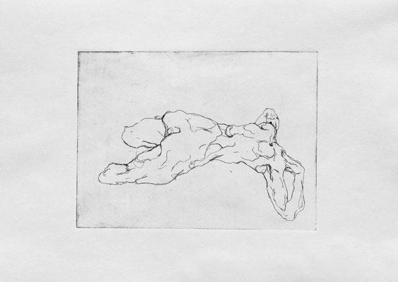 Strangers V (a), 2018. Radierung (Strichätzung) auf Papier, Platte 15 x 20 cm.