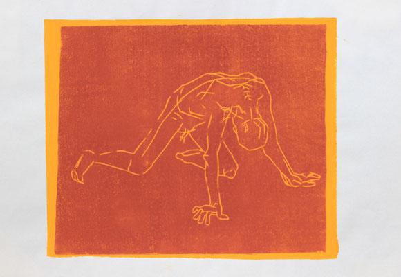 Kniend/2 (2015). Linolschnitt auf Papier.