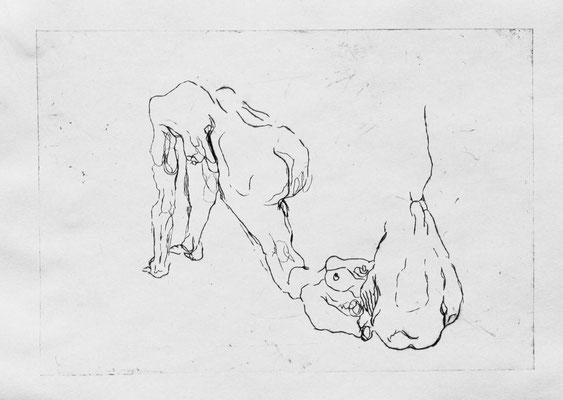Strangers II, 2018. Kaltnadelradierung auf Papier, Platte 21 x 30 cm.