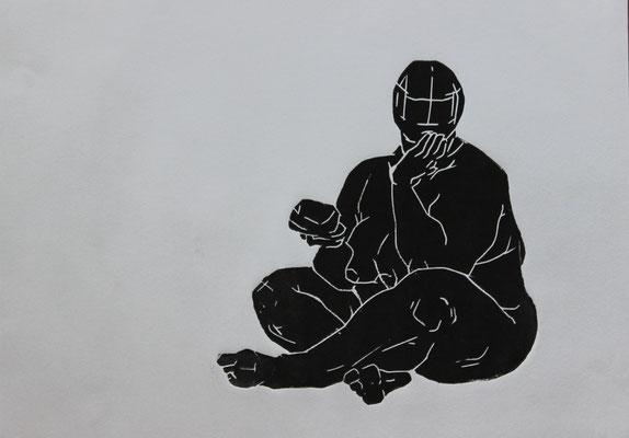 Sitzend/2 (2015). Linolschnitt auf Papier.