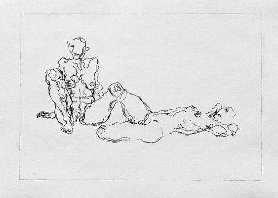 Strangers I, 2018. Kaltnadelradierung auf Papier, Platte 21 x 30 cm.