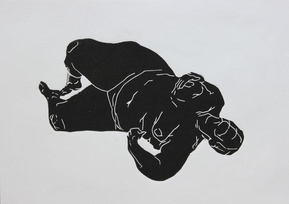 Liegend (2015). Linolschnitt auf Papier.