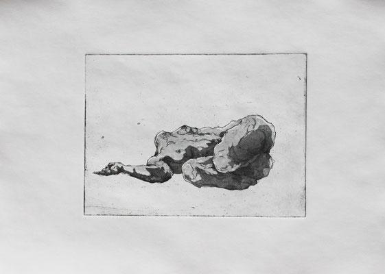 Strangers VI (b), 2018. Radierung (Aquatinta) auf Papier, Platte 15 x 20 cm.