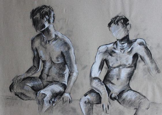 Untitled (2013). Kohle und Bleistift auf Papier.
