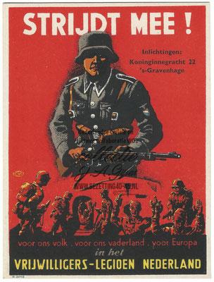 Propaganda / werving postkaart SS Vrijwilligers - Legioen Nederland  - 3rd Reich Netherland Legion Germanic Waffen SS Volunteer propaganda/recruiting postcard.