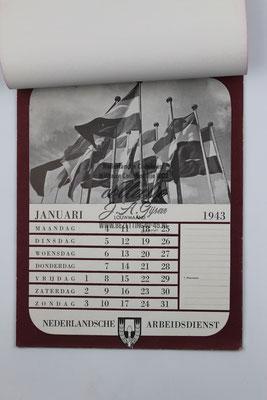 Nederlandse Arbeidsdienst NAD Kalender 1943 Januari
