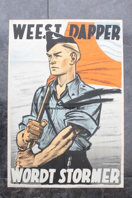 """NSB - Jeugdstorm affiche /poster  """"WEES DAPPER WORDT STORMMER""""."""