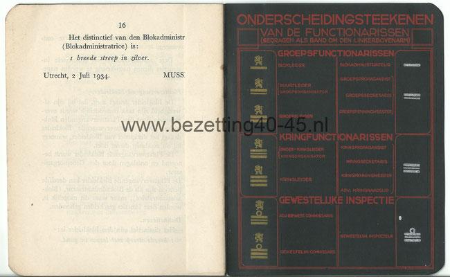 """NSB Ledenboekje t.b.v. """"DE BLOKLEIDER"""". (1934)"""