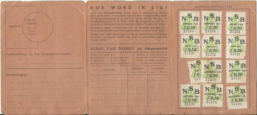 NSB Sympathiserende lidmaatschapskaart voor het jaar 1943/1944 , op naam van persoon uit Hengelo.