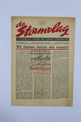 "NSB Strijd blad van de Jeugdstorm ""de Stormvlag"" 3e jaargang, nummer 6 - 25 Februari 1944."
