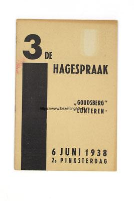 NSB Programma boekje 3e Hagespraak, die werd gehouden op de Goudsberg te Lunteren, 6 Juni 1938 (2e Pinksterdag).