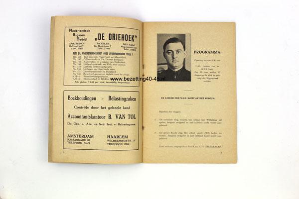 """NSB programma brochure """"2de Haagespraak"""" gehouden tweede pinksterdag 17 mei 1937 ."""